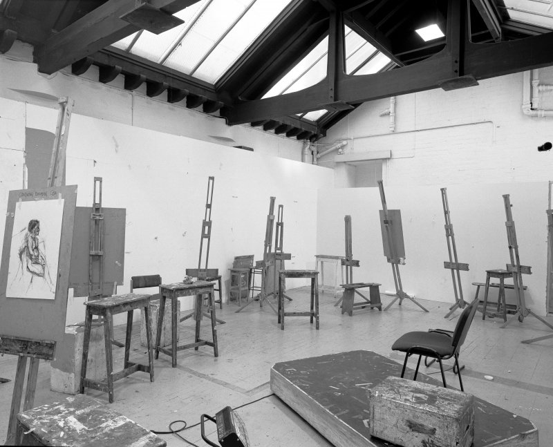 Interior view of Glasgow School of Art showing E studio in basement from NE.