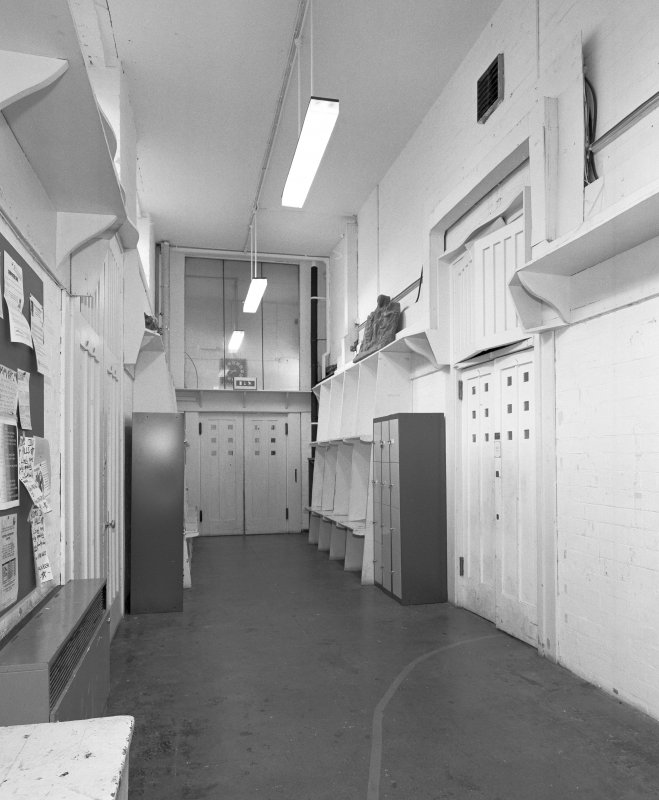 Interior view of Glasgow School of Art showing W corridorin basement from E.
