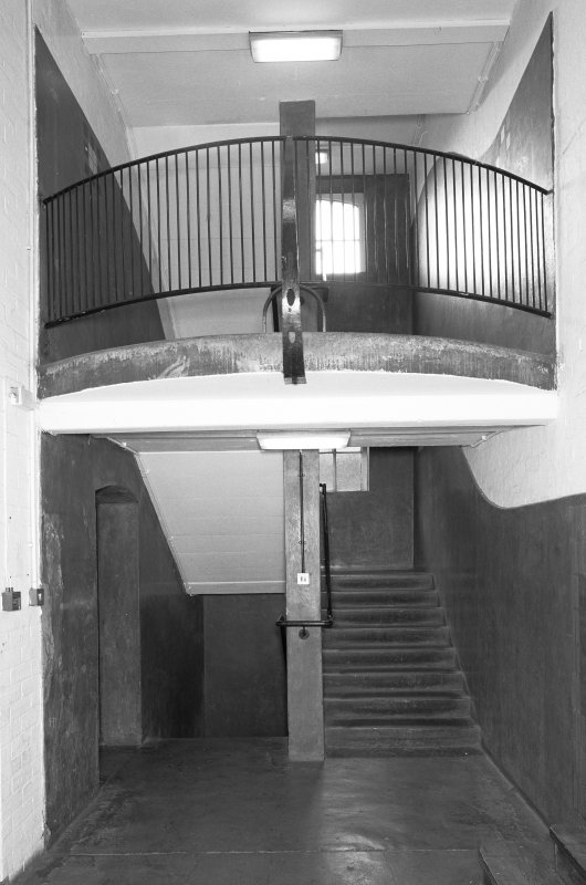 Interior view of Glasgow School of Art showing W staircase in basement from N.