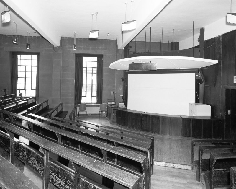 Interior view of Glasgow School of Art showing basement lecture theatre from E.