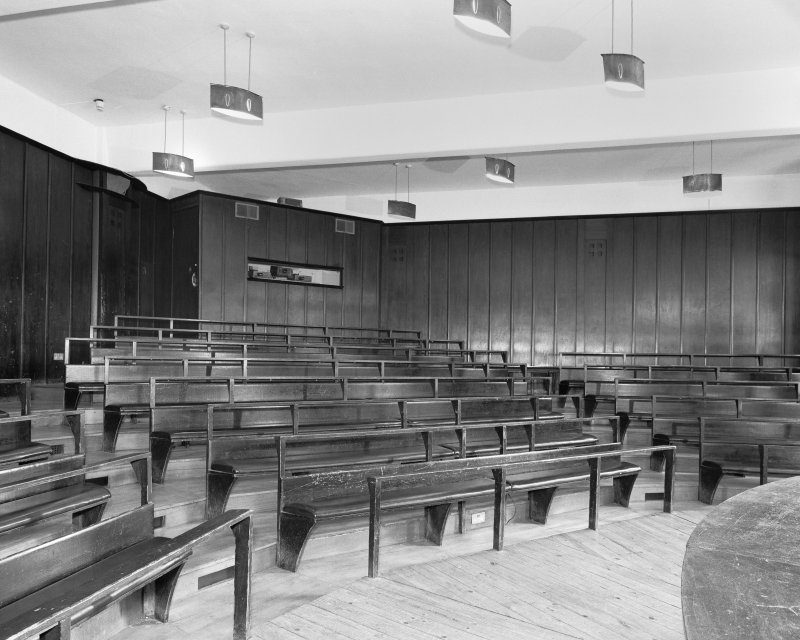 Interior view of Glasgow School of Art showing basement lecture theatre from N.