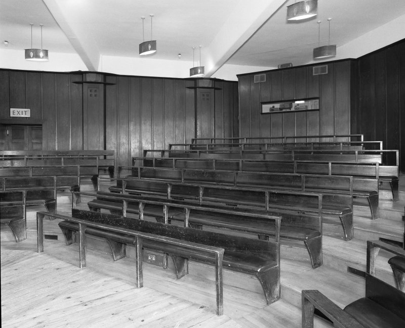 Interior view of Glasgow School of Art showing basement lecture theatre from W.