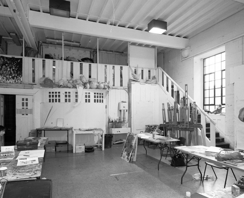 Interior view of Glasgow School of Art showing NW studio with mezzanine in basement from N.