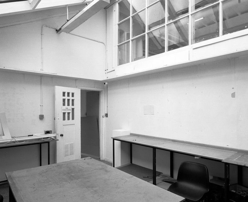 Interior view of Glasgow School of Art showing basement, storeroom to N of studio from NW.