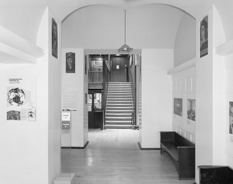 Interior view of Glasgow School of Art showing ground floor entrance hall from N.
