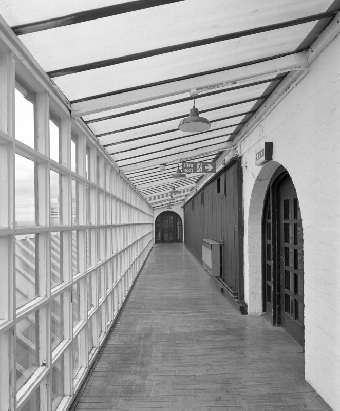 Interior view of Glasgow School of Art showing second floor glazed corridor to S (hen run) from E.