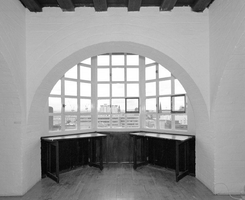 Interior view of Glasgow School of Art showing second floor vaulted corridor to S, E bay, view from N.