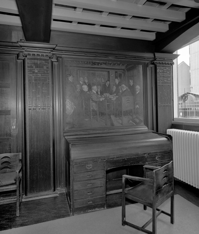 Interior view of Glasgow School of Art showing ground floor board-room, view of bureau with painting of board-room above.
