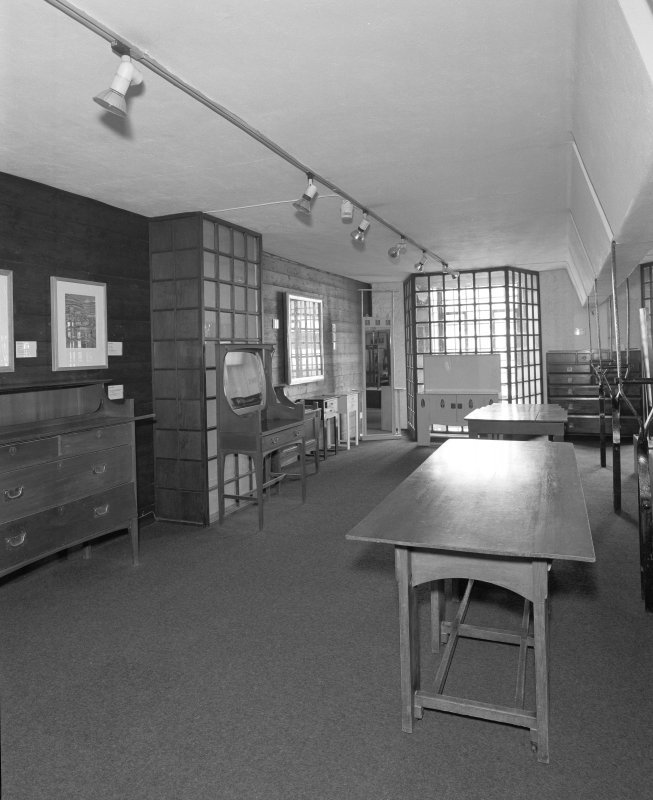 Interior view of Glasgow School of Art showing second floor furniture museum from NE.