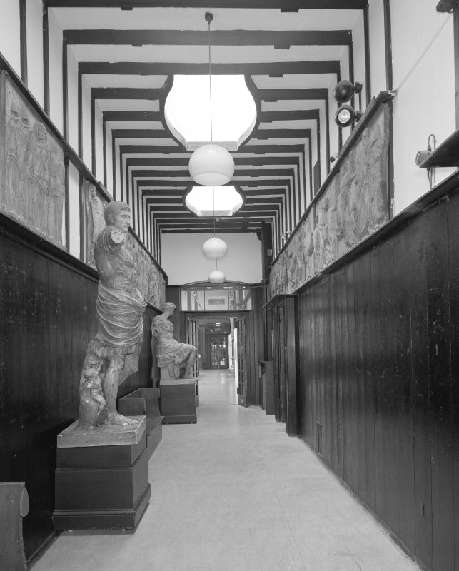 Interior view of Glasgow School of Art showing E corridor on first floor from E.
