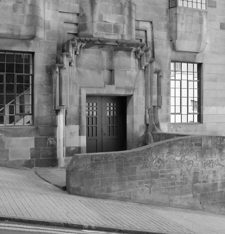 View of doorway at W facade of Glasgow School of Art from NW.