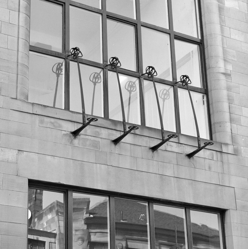 Detail of railing at first floor level, N facade of Glasgow School of Art.