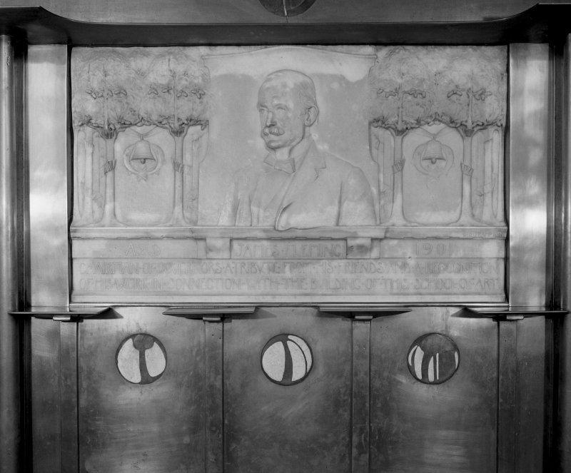 Interior view of Glasgow School of Art showing detail of memorial panel to James Fleming in main staircase.