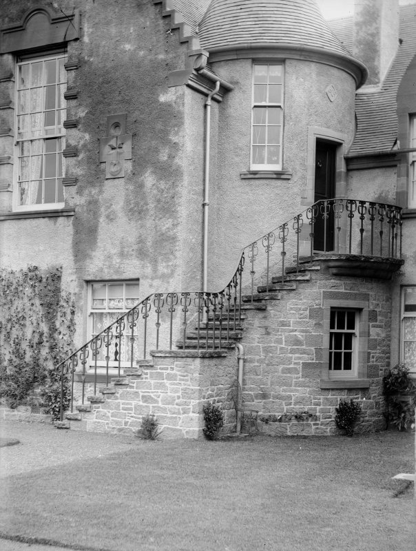 View of wrought iron staircase rails, possibly at Hallyburton House.