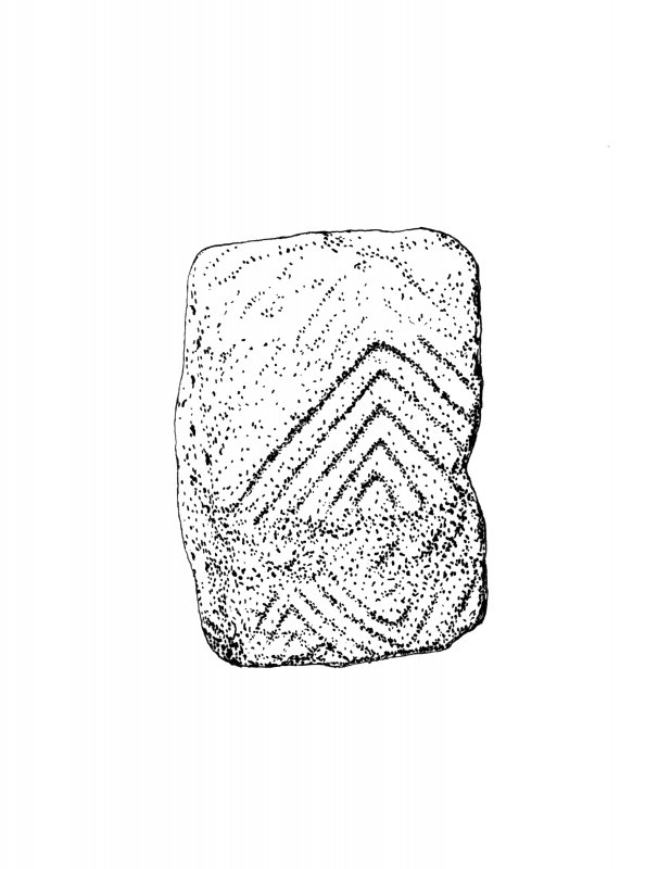 Publication drawing; decorated West end cist slab, Carn Ban, Cairnbaan. Photographic copy.