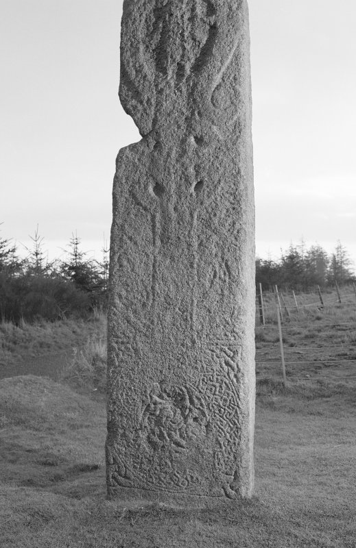 View of face of Maiden Stone Pictish cross slab.