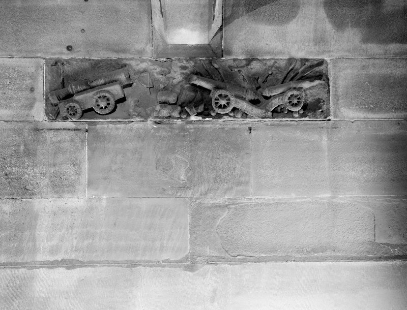 C17 carved reliefs of artillery