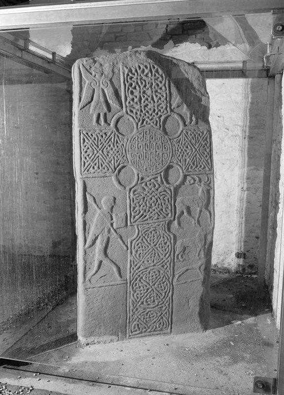 View of face of Pictish cross slab at Eassie Old Parish Church.