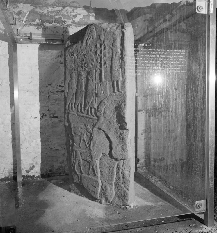 View of reverse of Pictish cross slab at Eassie Old Parish Church.