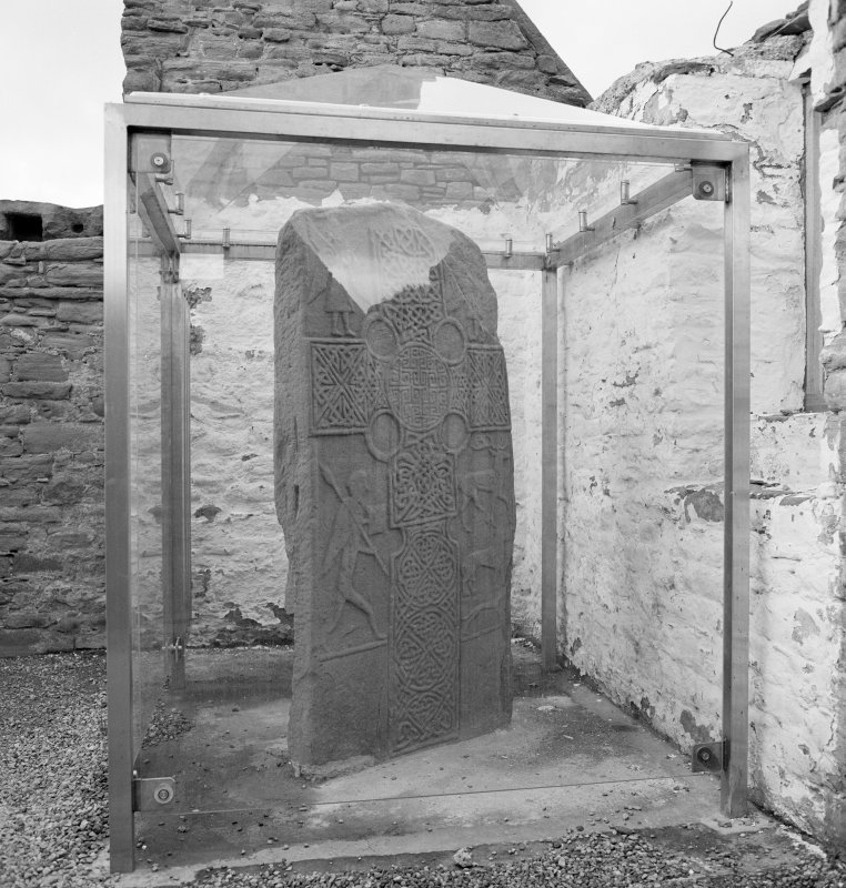 View of Pictish cross slab in its shelter at Eassie Old Parish Church.
