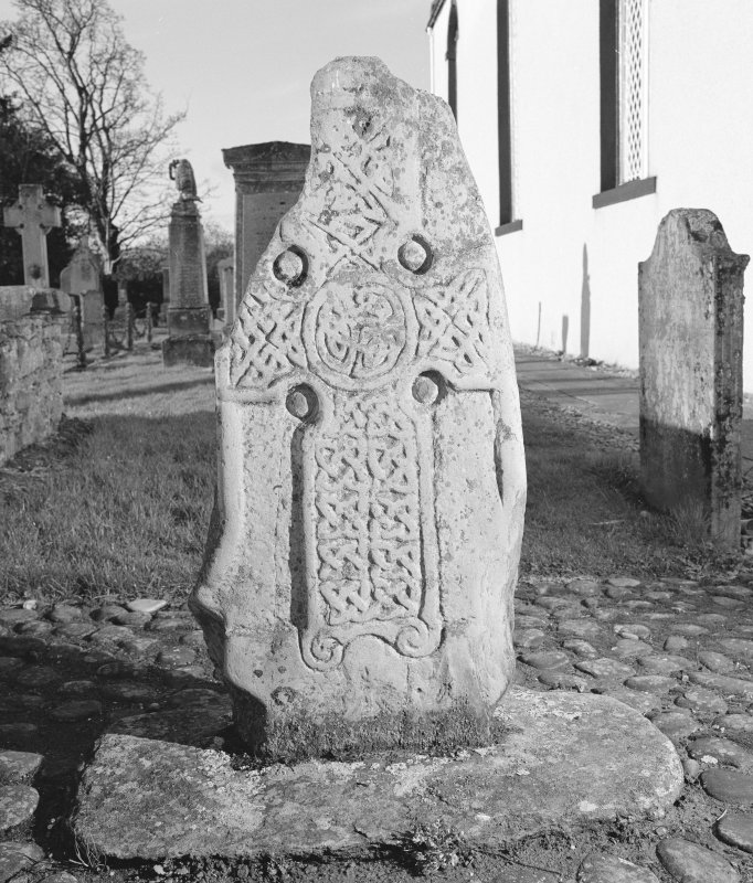 View of face of Logierait no.1 Pictish cross slab in Logierait churchyard.