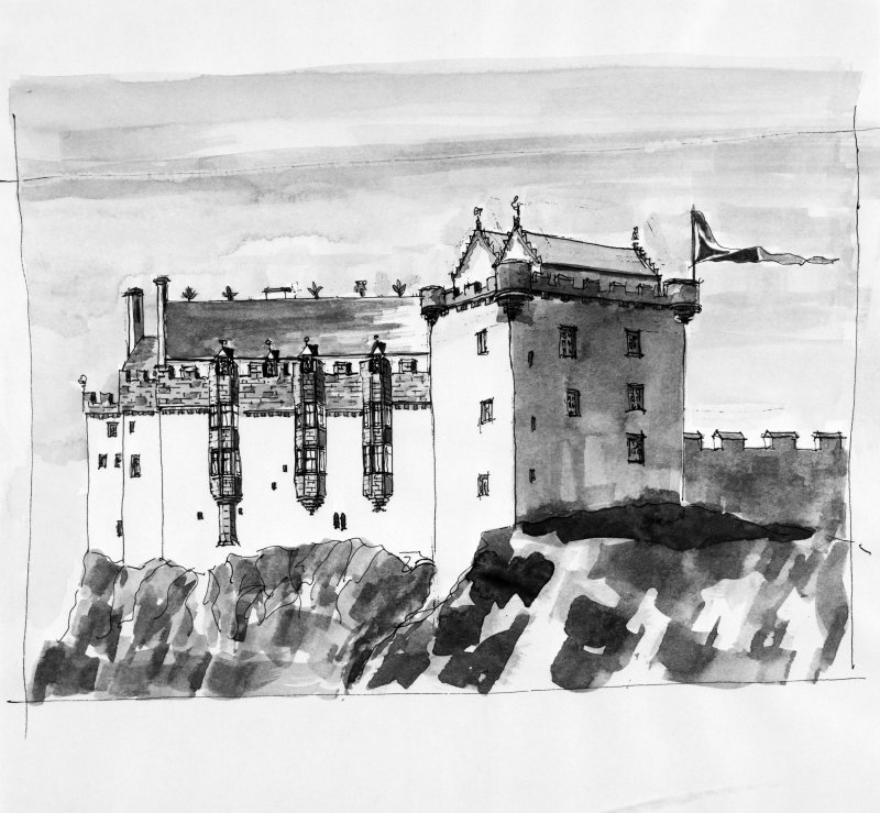 Edinburgh Castle Photographic copy of drawing of conjectural view from the east circa 1450. ns, nd. NMRS Survey of Private Collections.