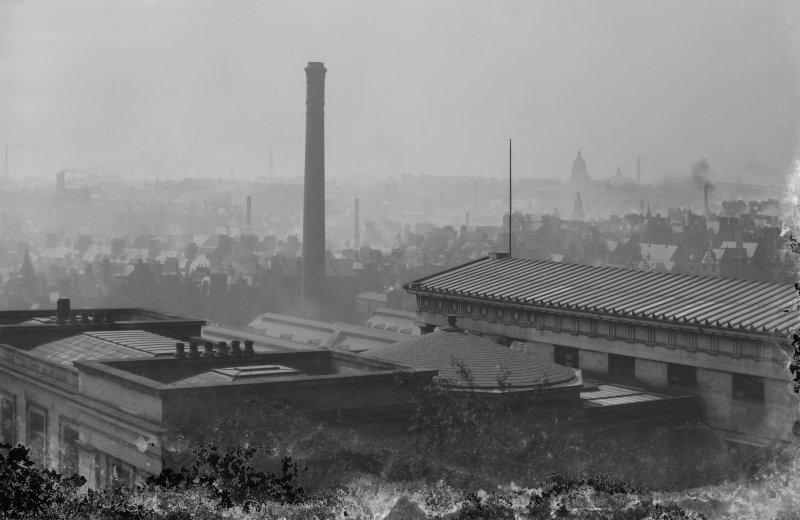 View of New Street Gasworks from Calton Hill, also showing roof of the Royal High School, Edinburgh