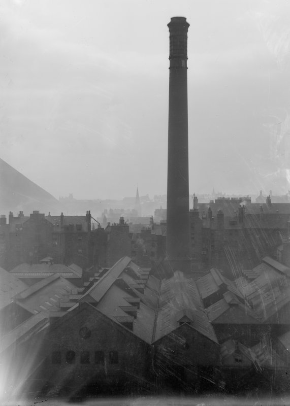View of New Street Gasworks chimney looking East, Edinburgh
