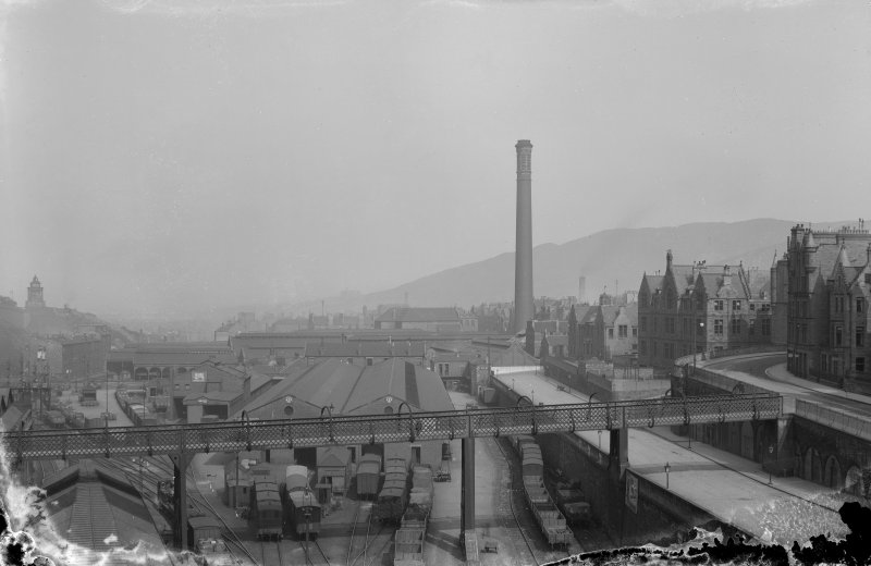 View of New Street Gasworks looking east, also showing Burns Monument and footbridge over Waverley Goods Station, Edinburgh