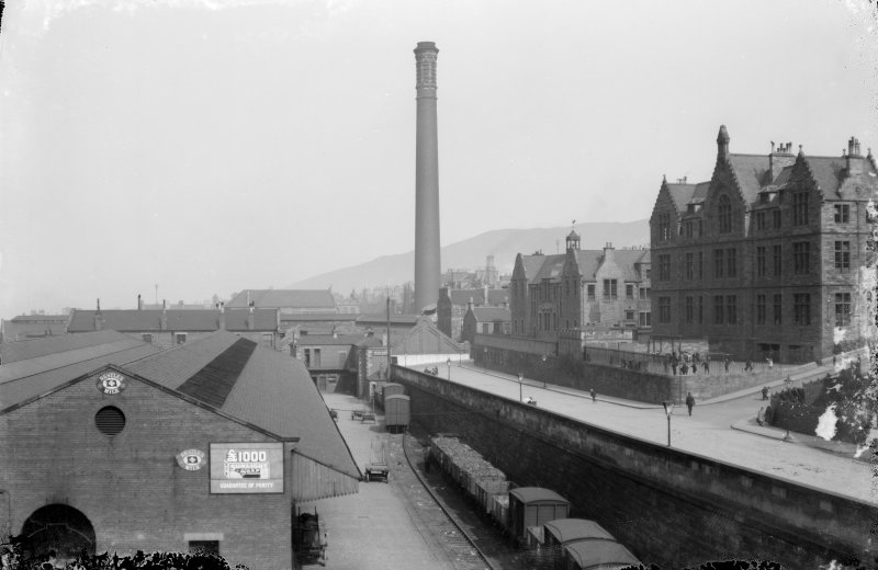 View of New Street Gasworks and two schools looking east, Edinburgh.