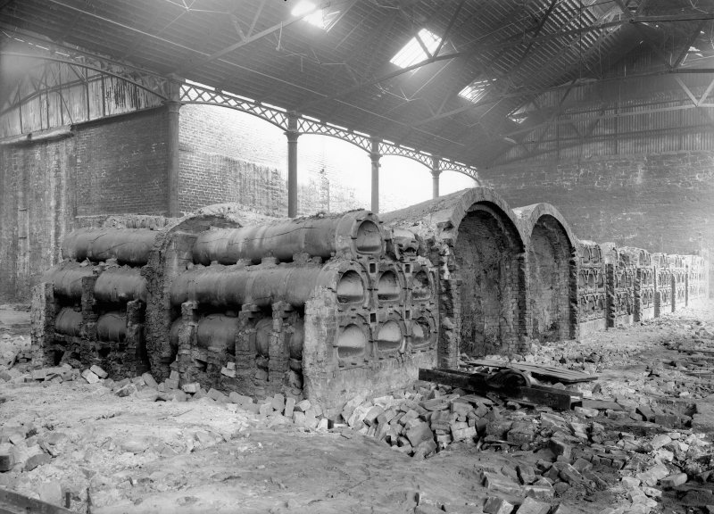 View of demolition of horizontal retorts at New Street Gasworks, Edinburgh.