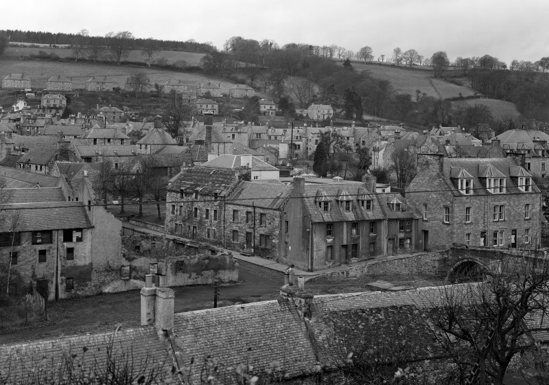 View of Jedburgh centred on 1 and 2 Duck Row and 40 and 42 Canongate, from south east.