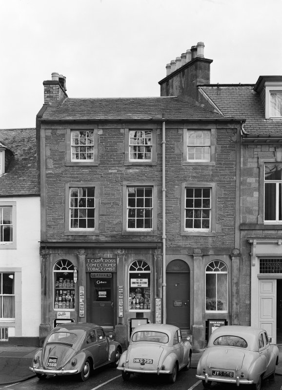 View of 6 Abbey Place, Jedburgh from south, showing T Cairncross confectioner and tobacconist.
