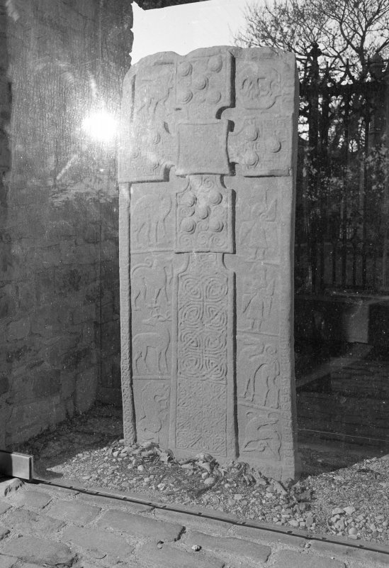 View of face of Dunfallandy Pictish cross slab.