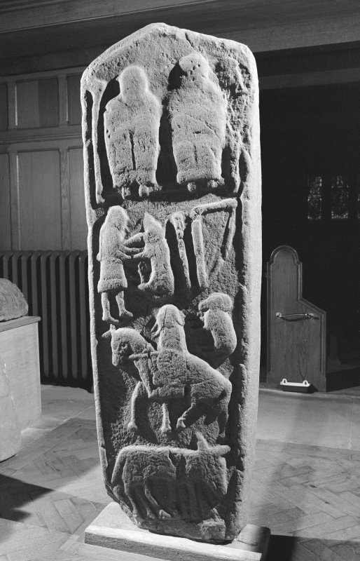 View of reverse of the Aldbar cross slab in Brechin Cathedral.