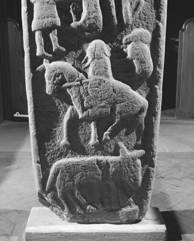 Detail of reverse of the Aldbar cross slab in Brechin Cathedral.