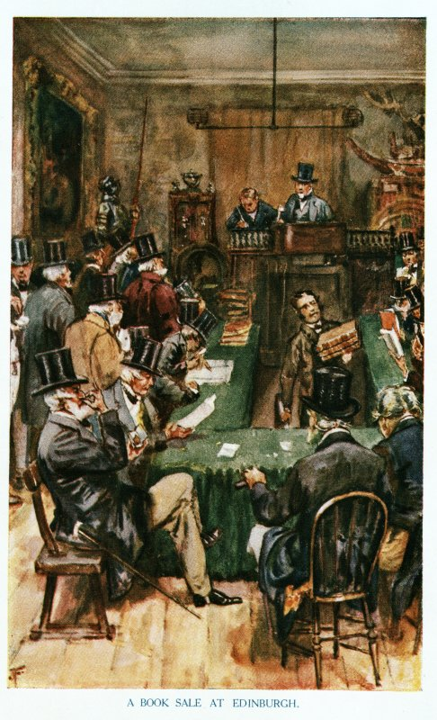 Insc. 'A Book Sale at Edinburgh', Portrays Dowell's sale room in the 1860's
