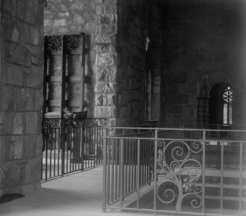Interior view of stairs to crypt and Bruce Chapel showing wrought iron work, St Chonan's Church, Lochawe.