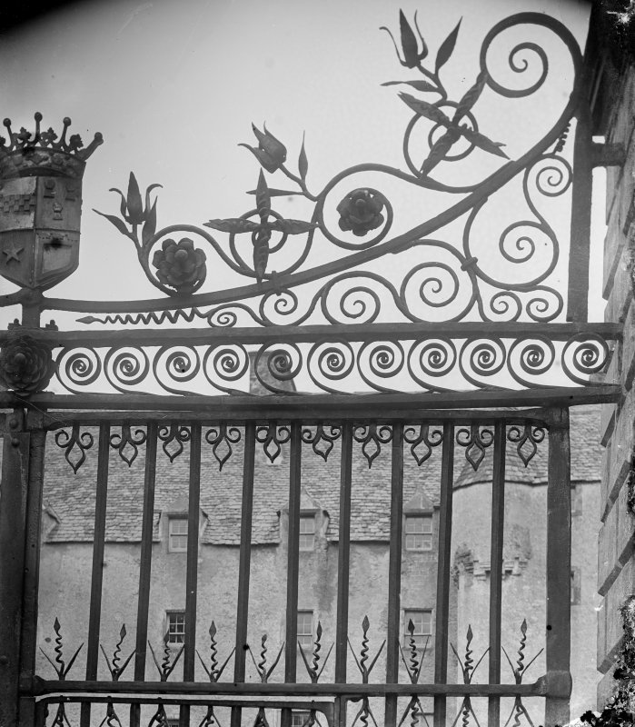 Detail of gates to forecourt of Traquair House.