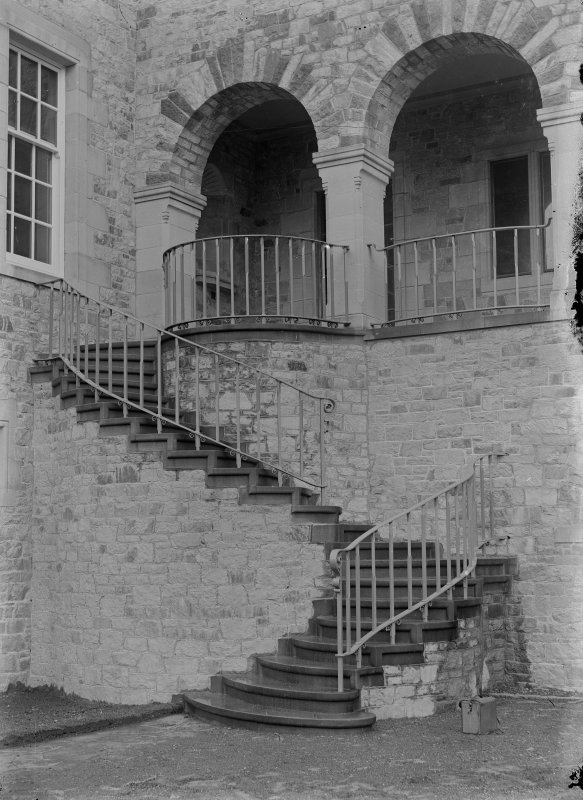 View of external stair and ironwork on North West front of Ardkinglas House.