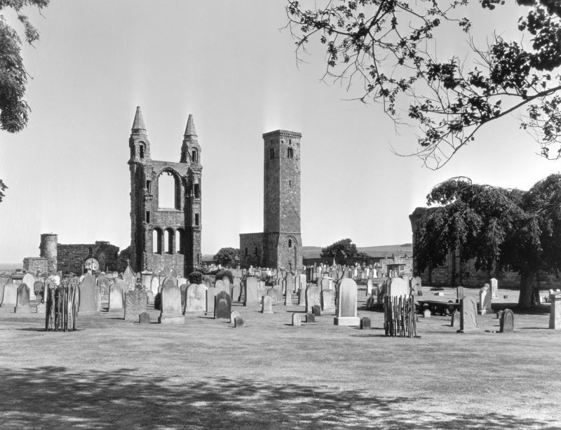 General view of St Andrews Cathedral and St Regulus Tower.
