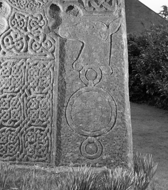 Front detail of Glamis Pictish cross slab.