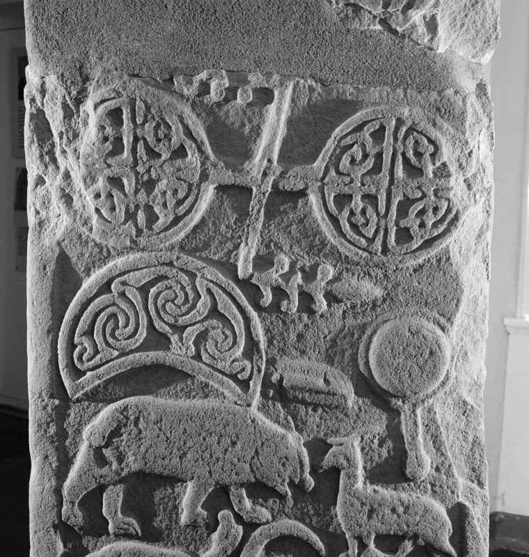 Detail of reverse of the Drosten Stone Pictish cross slab (St Vigeans no.1).