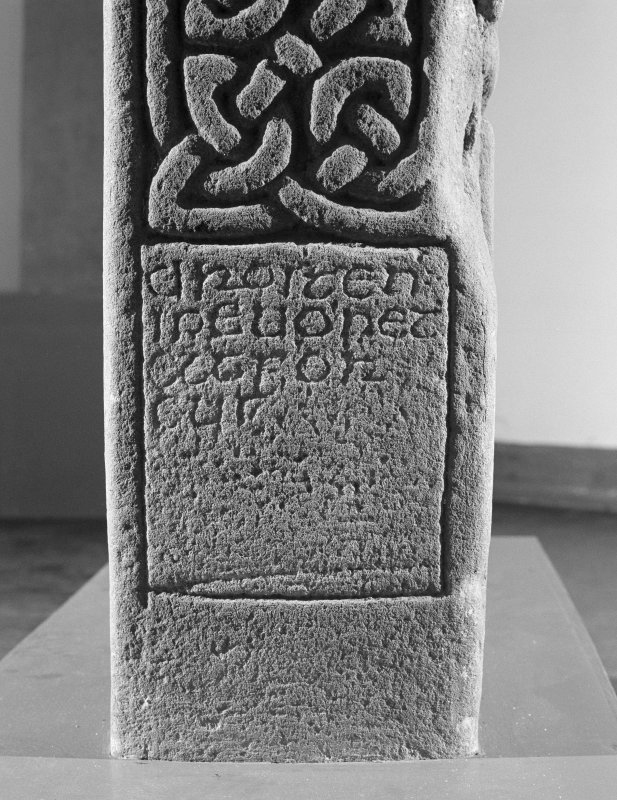 Detail of edge with inscribed panel of the Drosten Stone Pictish cross slab (St Vigeans no. 1).