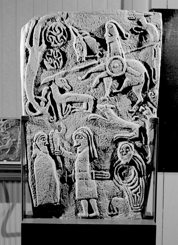 View of reverse of Inchbraoch Pictish cross slab in Montrose Museum.