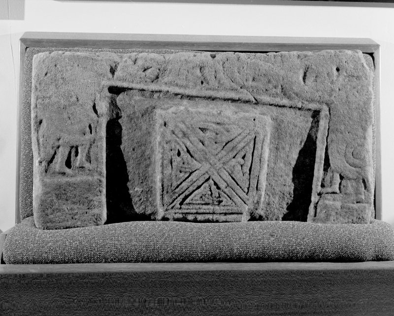View of Rosemarkie sculptured stone fragment.