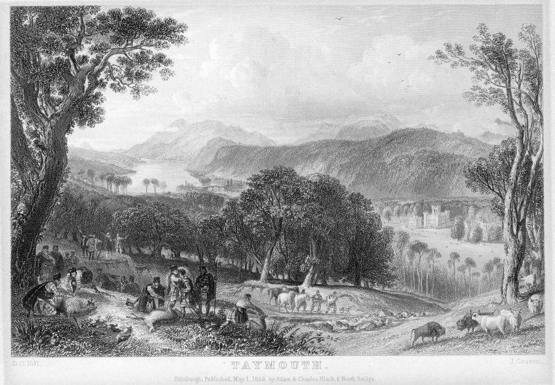 Distant view of Taymouth Castle with hunting scene.