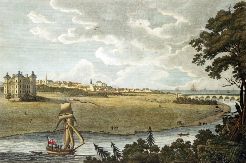 Photographic copy of painting showing view of the town of Banff with Duff House and The New Bridge.