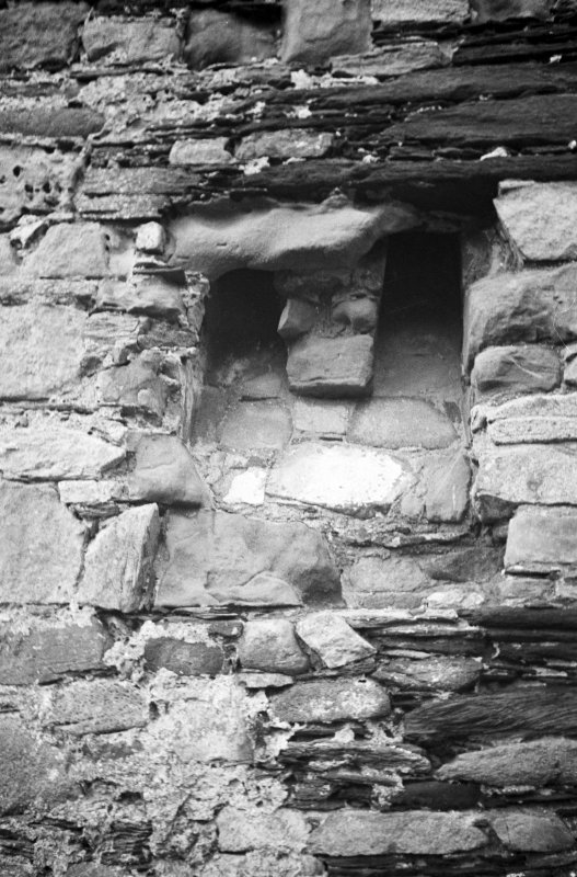 Castle Sween. Detail of garderobe at East corner.