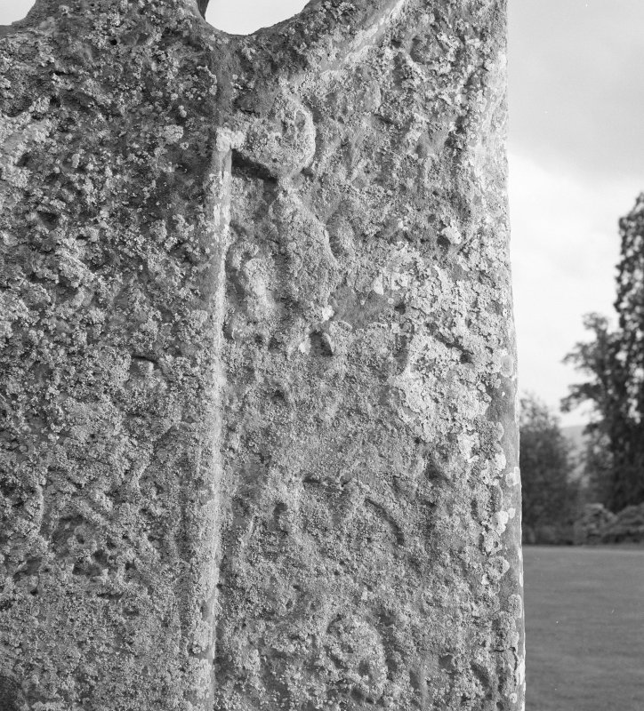 Detail of the Boar Stone of Gask Pictish cross slab.